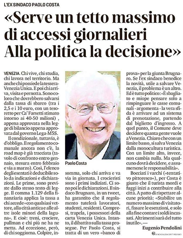 Articolo su Paolo Costa
